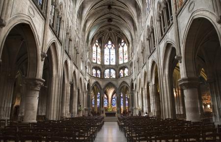 religiosity:  Paris - interior of Saint Severin gothic church  Editorial