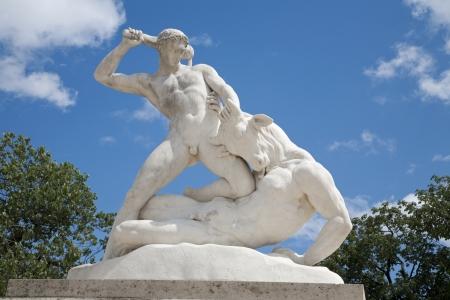 statuary garden:  Paris - Hercules and Mintaurus statue - Tuileries garden Stock Photo