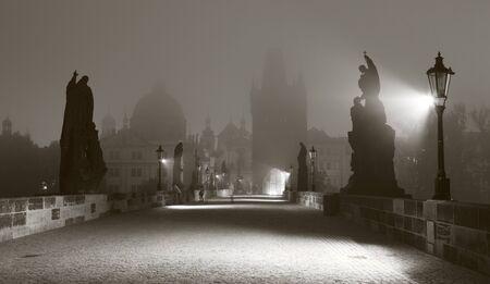 Prague - Charles bridge in the morning fog  Stock Photo - 15621842