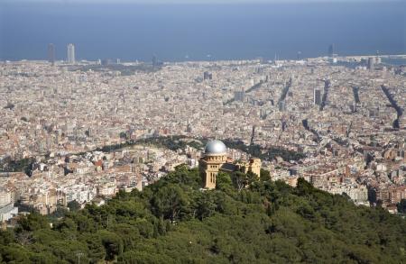 tibidabo:  outlook over Barcelona from Tibidabo hill  Stock Photo