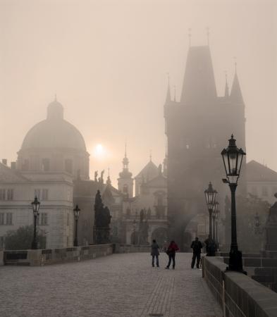 Prague - Charles bridge in the morning fog  Stock Photo - 15621827