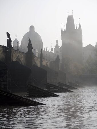 Prague - Charles bridge in the morning fog  Stock Photo - 15621832