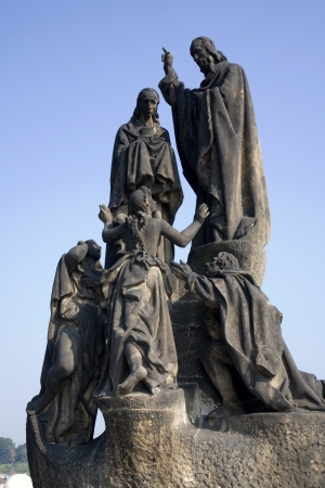Prague - statue from Charles bridge - st  Methodius and Cyril  photo