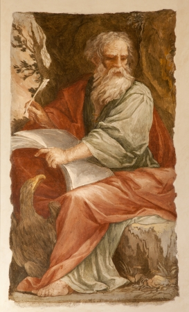 Rome - st  John the Evangelist at writing of Apokalypse on Patmos island