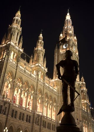 Vienna - kinght statue and town hall