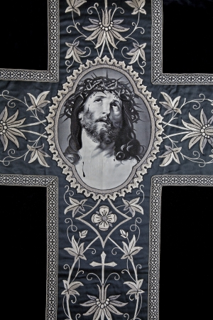 vestment:  cross - detail of old funeral catholic vestment  Stock Photo