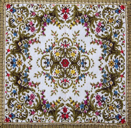 vestment:  detail of vestment - flowers motive