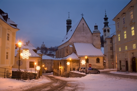 slovakia:  Banska Stiavnica - Slovakia - Gothic church and New castle in morning