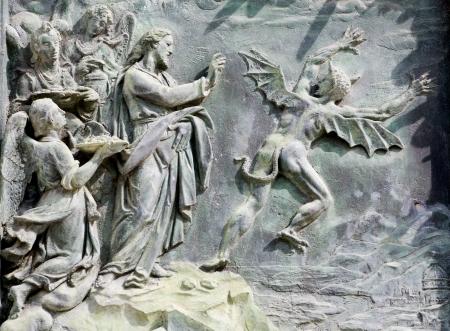 christendom:  Pisa - detail from cathedral gate - temptation ot Jesus