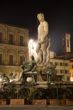 neptun:  Florence - Neptun fountain in the night from Ammannati 1575  Stock Photo