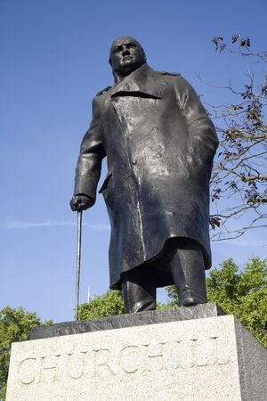 London - Winston Churchill statue by parliament  Stock Photo - 15647506