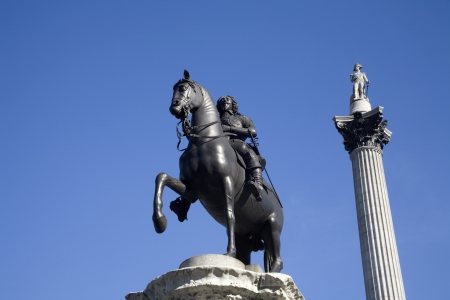 London - admiral Nelson column and King Charles I Trafalgar square - detail Stock Photo - 15620470