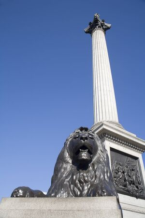 London - admiral Nelson column and lion - Trafalgar square Stock Photo - 15620508