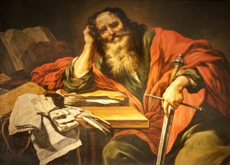 Saint Paul paint from Paris - St  Severin church Editorial
