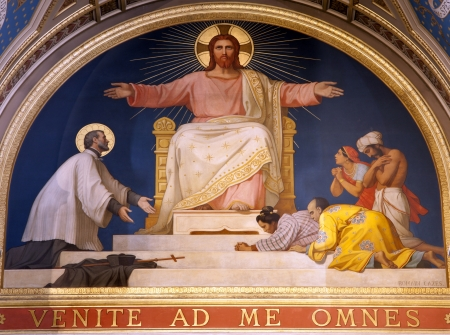 Paris - fresco of Jesus from apsis of saint Francis Xavier church Editoriali