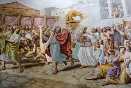 King David by dance - painting form Florence church  Stock Photo