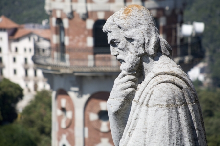 tibidabo:  Barcelona - holy over town - detail form church Sagrad cor de Jesus on Tibidabo