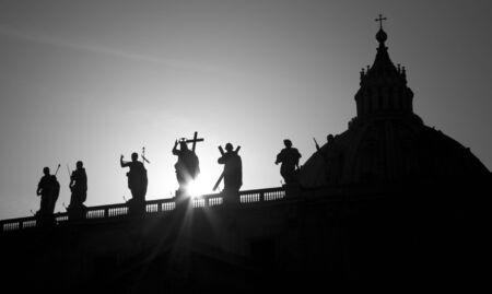 st peter s basilica: Rome - silhouette of Jesus with the cross form  colonnade od st  Peter s basilica
