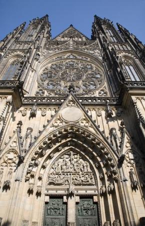 vitus: Prague - st  Vitus cathedral - west facade  Stock Photo