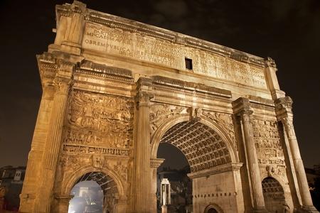 severus: Rome - Septimu Severus triumph arch at night