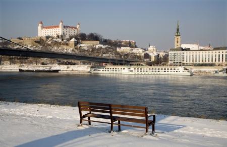 bratislava: Bratislava in winter - castle and cathedral