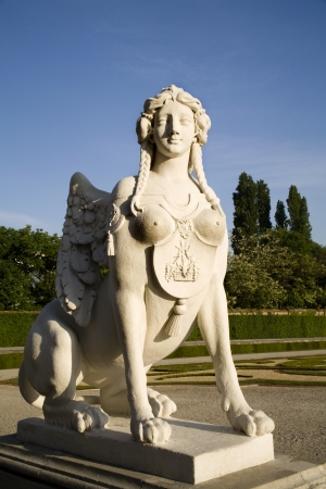 Vienna - sphinx in Belvedere palace by sunrise