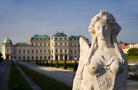 statuary garden: Vienna - sphinx and Belvedere palace by sunrise