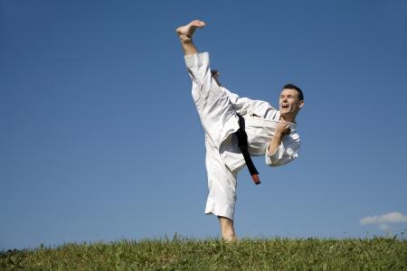 kata:  world champion of Karate - kata - kick  Stock Photo