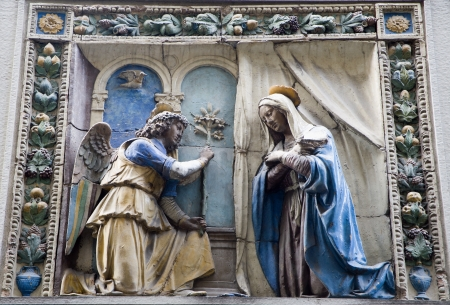angel gabriel: Florence - relief of Annunciation  Stock Photo