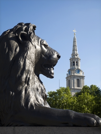London - lion from Nelson memorial on Trafalgar square  Stock Photo - 15892518