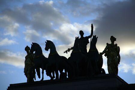 carrousel:  Paris - silhouette from Triumph arc du Carrousel Editorial