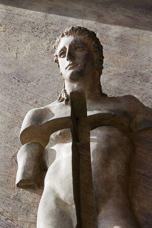 martyr: ROME - MARCH 20  Detail from gate of basilica Santa Maria degli Angeli e dei Martiri  Symbol of martyr by sculptor Igor Mitoraj on March 20, 2012 in Rome  Editorial