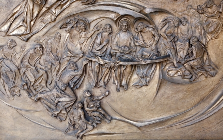 Rome - Last supper of Christ - detail from modern gate of basilica Santa Maria Maggiore