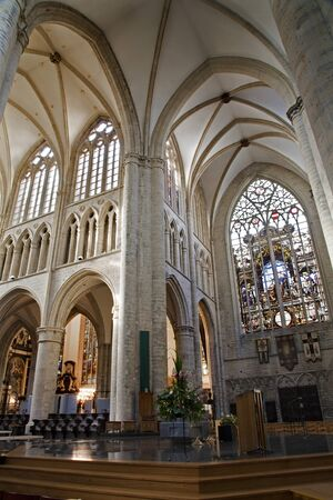 nave: BRUSSELS - JUNE 22  Side and main nave of gothic cathedral of Saint Michael on June 22, 2012 in Brussels  Editorial