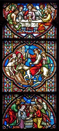 BRUSSELS - JUNE 22  Scene from Jesus life from windowpane in st  Michael s gothic cathedral on June 22, 2012 in Brussels