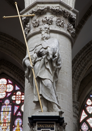 BRUSSELS - JUNE 22  Statue of st  Andrew the apostle from gothic cathedral of Saint Michael on June 22, 2012 in Brussels