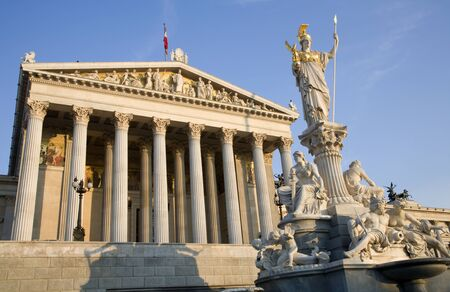 Vienna - Pallas Athena fountain and parliament in morning Stock Photo - 16348077