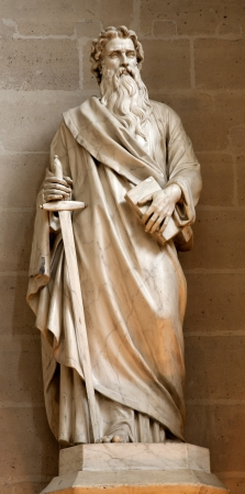 Paris - apostle Paul statue from Germain-l Auxerrois gothic church Editorial