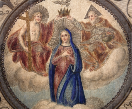 Milan - Coronation of Virgin Mary - detail of old flag from museum of Cappella Portinari