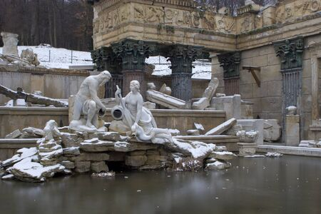 statuary garden: Vienna - fountain in schonbrunn palace - old rome ruins in winter  Editorial