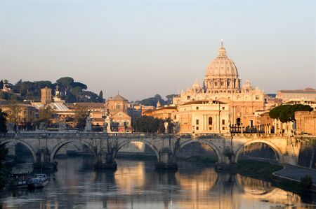 st peter s basilica: Rome - Angels bridge and St  Peter s basilica in morning