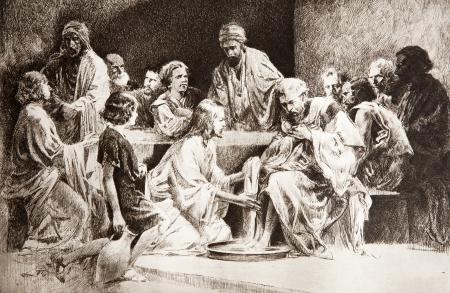 jesus christ communion: Last super of Christ - feet washing  - drawing