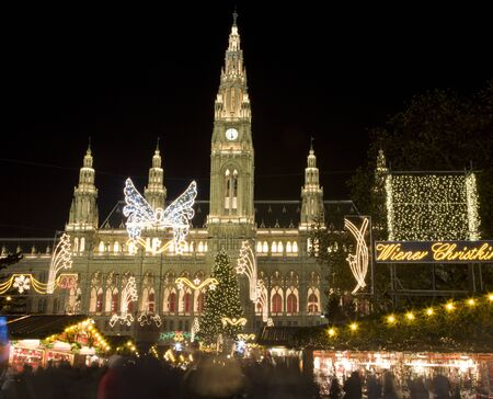 austria: Vienna - town hall and christmas decoration - market Editorial