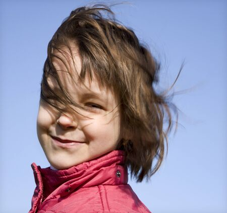 portrait of little girl in the wind Stock Photo - 16644889