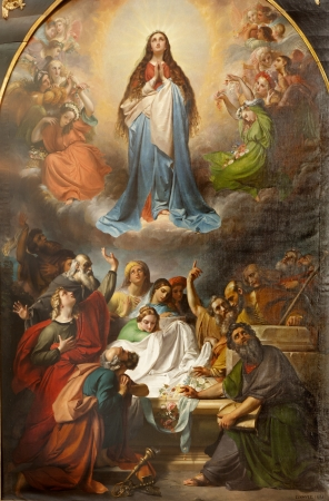 BRUSSELS - JUNE 22  Paint of Our Lady's Assumption into heaven  from St  Michael and St  Gudula Cathedral by F  J  Navez from year 1847 on June 22, 2012 in Brussels