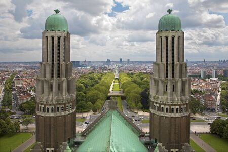 sacred heart: Brussels - outlook from National Basilica of the Sacred Heart to financial district   Editorial