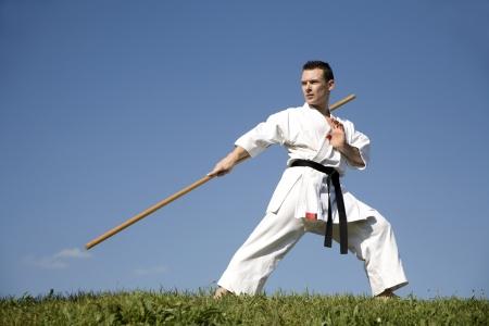 karate training in kimono