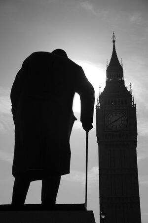 London - Winston Churchill statue and Big ben Stock Photo - 16554595