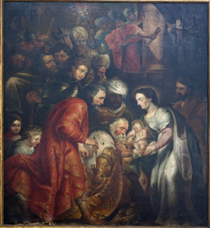 BRUSSELS - JUNE 21: Adoration of The Magi by painter L. Vosterman from Saint John the Baptist church on June 21, 2012 in Brussels.