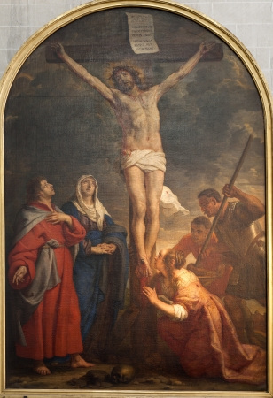 BRUSSELS - JUNE 21: Crucifixion paint from church of Saint John the Baptist by Caspard de Crayer from 17. cent. on June 21, 2012 in Brussels.